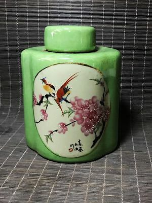 China green glaze porcelain *Flower and birds/landscape*Tea Caddy/Pot