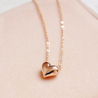 1pc Fashuon Cute Women Gold Plated Heart Charm Statement Chain Pendant Necklace