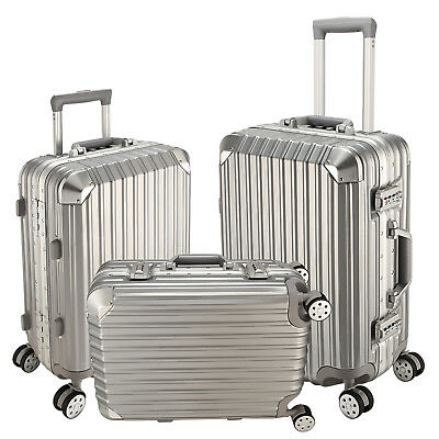 """20"""" 24"""" 28"""" Silver Cabin Trolley Suitcase Aluminum Frame Luggage Travel Suitcase"""