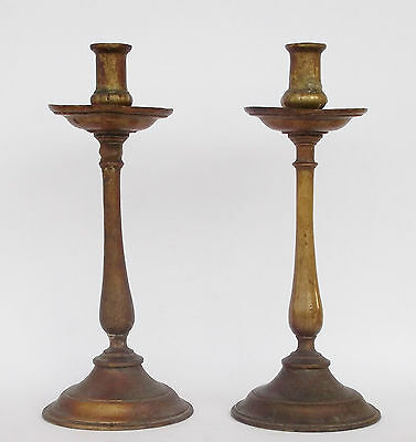 Rare Antique 17Th Century Portuguese Bronze Pair Of Candle Holders