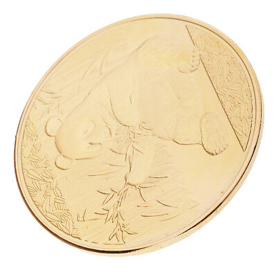 MagiDeal Commemorative Coin Panda Pattern Gold Plated Vintage Souvenirs Gift