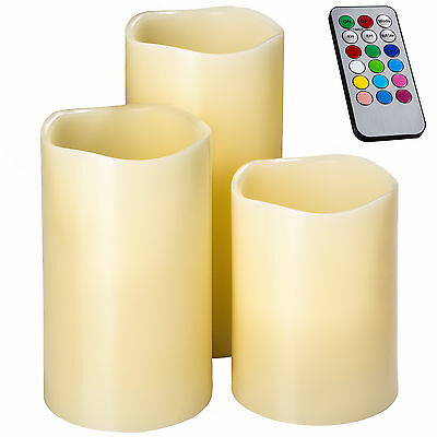 3 LED real wax candles with remote control flameless realistic flickering flame