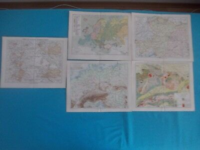 1880 Lot of 5 Original Europe Maps Engraving #1
