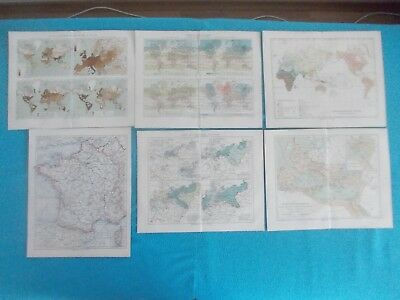 1880 Lot of 6 Original Europe World Maps Engraving #2