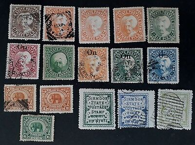 RARE 1885- India (Sirmdor State) lot of 16 Potsaage Stamps Mint & Used