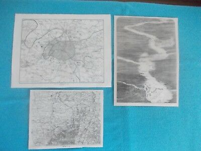 1870 Lot of 3 Original Europe France War Paris Loire Maps Engraving #3