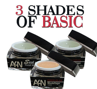 3 SHADES OF BASIC Profi Modellagegel-Set Nagelgel Geschenke-Box Nagelset Gelset