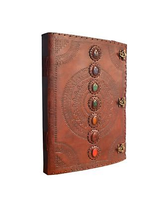 Leather Embossed Chakra Stones Journal Beautiful 7 Stone Leather Journal