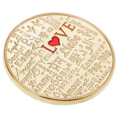 MagiDeal 1 Piece The language of Love Coin Gold Plated Commemorative Coin