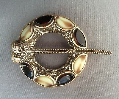 Vintage Signed Miracle Jewellery Scottish Celtic Penannular Gold Brooch Pin