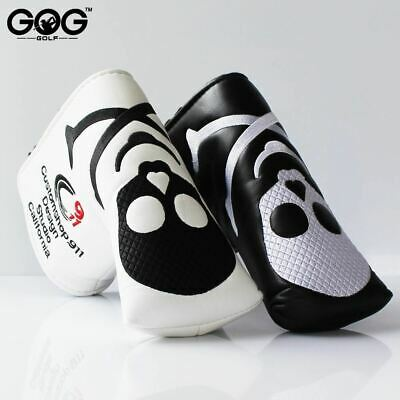 Skull PU Golf Headcover for Blade Golf Putter black white putter headcover