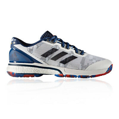 adidas Mens Stabil Boost 20Y Indoor Court Shoes Blue Red White Sports Badminton
