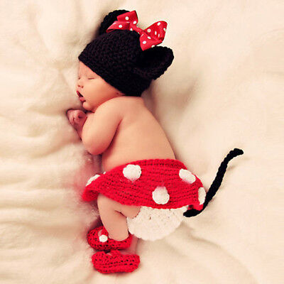 Cartoon Mouse Baby Newborn Hand Knitted Crochet Hat Costume Photography Prop Set