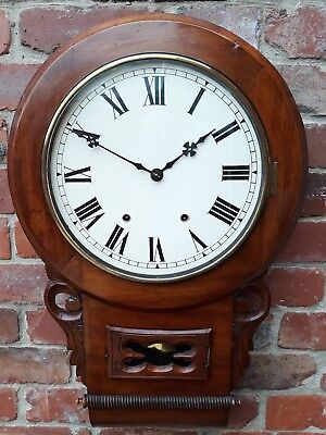 ANTIQUE MAHOGANY AMERICAN DROP DIAL WALL CLOCK c1890s