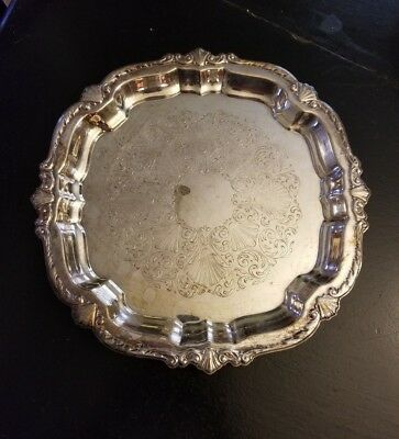Wma Rogers Silver Tray, Engraved, Vintage