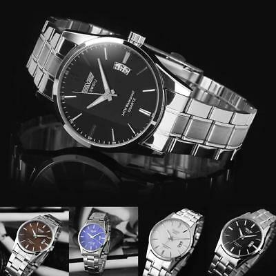 New Mens Watch Stainless Steel Band Date Analog Quartz Sport Wrist Watch Army QT