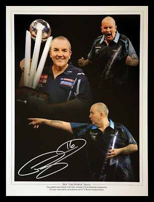 Phil Taylor Signed Darts 12x16 Photograph :  B : New