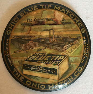 Advertising Mirror Ohio Blue Tip Matches Company Wadsworth OH Antique Rare
