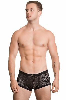 L'Homme Invisible Men's Eole Mini Hipster Underwear Lace Effect Black Red