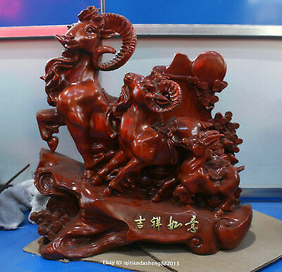45cm Chinese Natural Red Jujube wood Handmade Animal sheep beast statue QIQO