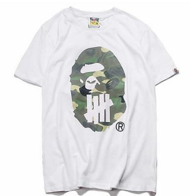 c023cbb48fa6 Men s Bape Camo Green Monkey Head Printed A bathing ape Tee Shirt White  Black