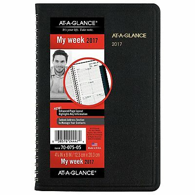 """AT-A-GLANCE Weekly Appointment Book/Planner 2017, 4-7/8 x 8"""", Black 70-075-05"""