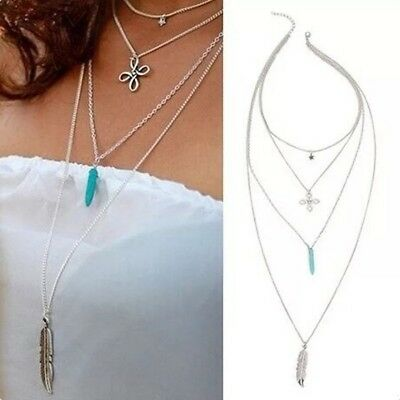 Womens Long Necklace Feather Triple Pendant Layer Chain Silver Plated Fashion UK