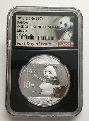 2017 China 10Y Silver Panda NGC MS70 First Day Of Issue Black Label, 30g