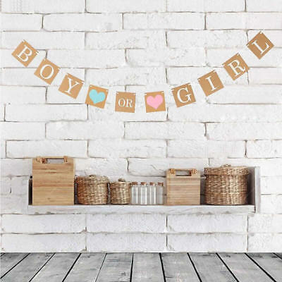 Boy Or Girl Bunting Banner Photo Prop Baby Shower Party Garland Hanging Decor