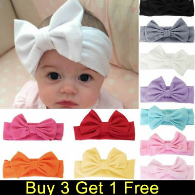 Baby Girls Kids Cotton Bow Hairband Headband Sweet Turban Knot Head Wrap