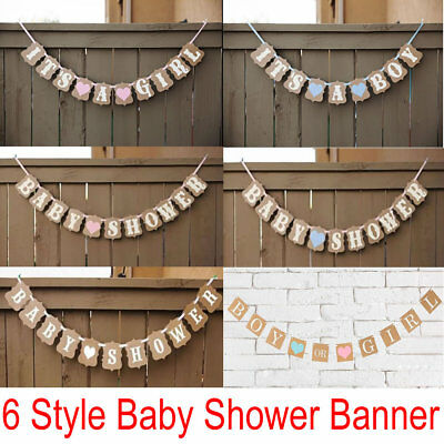 It's A Boy/Girl Baby Shower Bunting Banner Party Garland Photo Props Decor Sign