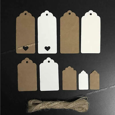 100pc 9CM*4CM Kraft Paper Gift Tags Label Scallop Christmas Luggage Blank+String
