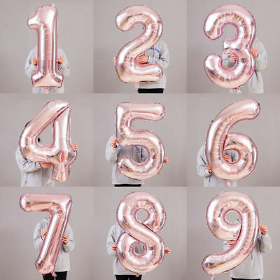 "32"" 40"" Giant Foil Number Self Inflating Balloons Birthday Age Party Wedding"