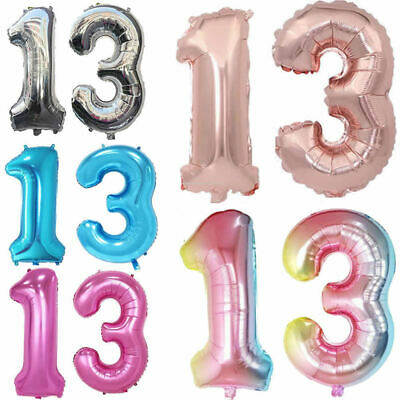 32''40'' Giant 13th Birthday Party Number Foil Air Helium Balloons Banner Decor