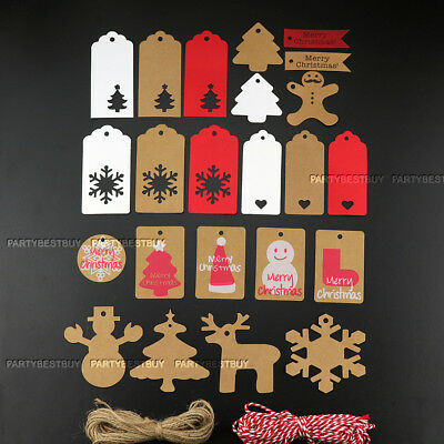 50/100 Kraft Paper Gift Tags String Crafts Price Tag Christmas Tree Hanging Deco