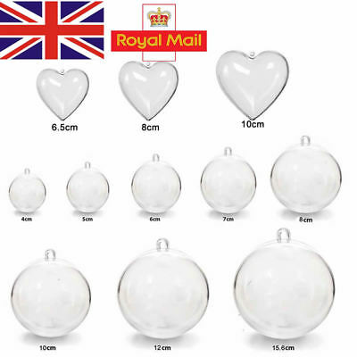 5-100Pc Clear Plastic Christmas Balls Baubles Sphere Fillable Xmas Tree Ornament