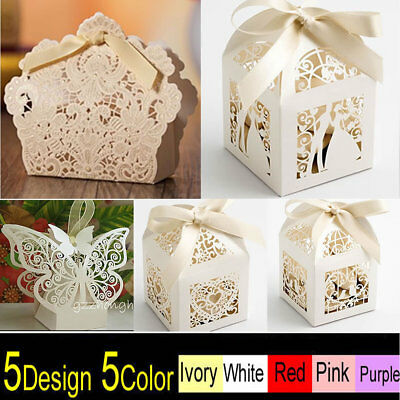 25/50/100 Luxury Wedding Favour Favor Sweet Boxes Place Cards Table Decorations