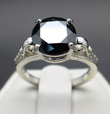3.12cts 9.85mm Real Natural Black Diamond Ring Certified AAA Grade & $1760 Value