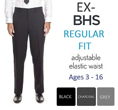 Ex-BHS Boys Black Charcoal Grey Regular Fit School Trousers Age 3-16 Adjustable