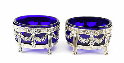 Pair 19th Century Sterling Silver & Glass Open Salt Cellars by Paillard Freres
