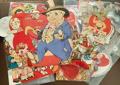 Vintage 50+ Lot of 1920's-50's Valentines~Mechanical~Fold-out~Die-cut~WWII