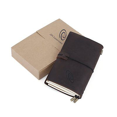 Genuine Leather Journal Crazy Horse Travel Diary With Refillable Pages - Perfect