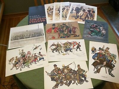 Lot of vintage WW2 miltary prints, Arthur Szyk + Early American Military prints