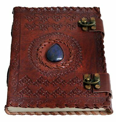 """Handmade Large 8"""" Embossed Leather Journal Celtic two latches blue stone blank"""