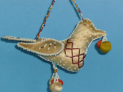 Iroquois Indian Beaded Bird Pin cushion Silk Fabric Beads Antique Folk Art