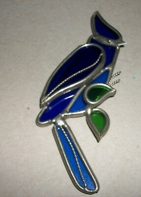"""Blue Jay Stained Glass Bird Sun Catcher Mobile  6.5"""" x 2"""" (Need repair)"""