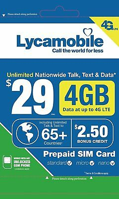 Lycamobile $29 Plan Preloaded SIM Card free 1Month 4GB Data Unlimited Talk Text