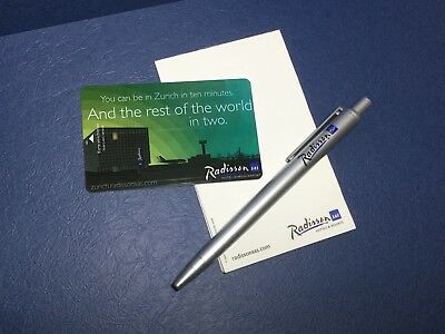 Set of Hotel Key Card + Pen + Stationery form World Class Hotel - Radisson Zuric