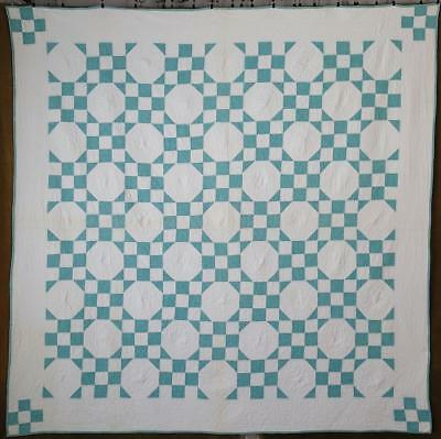 Beautiful Flagstones Vintage 1930s Seafoam Green & White QUILT Cottage Perfect
