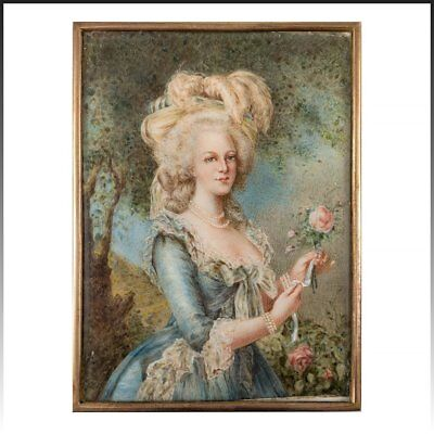 Fine Antique HP Portrait Miniature, French Marie-Antoinette apres Vigee Le Brun